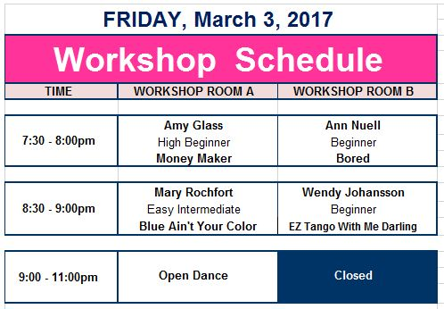 Teaching Schedule - Footloose in the Foothills Line Dance Festival